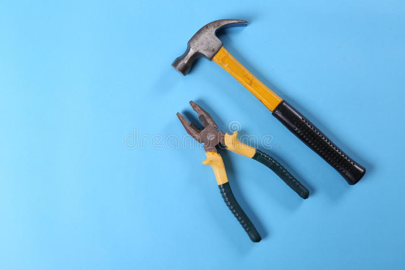Pliers. Hammer tools hardware decoration decoration industry construction workers photographic material Photography background Photography background paper iron stock image