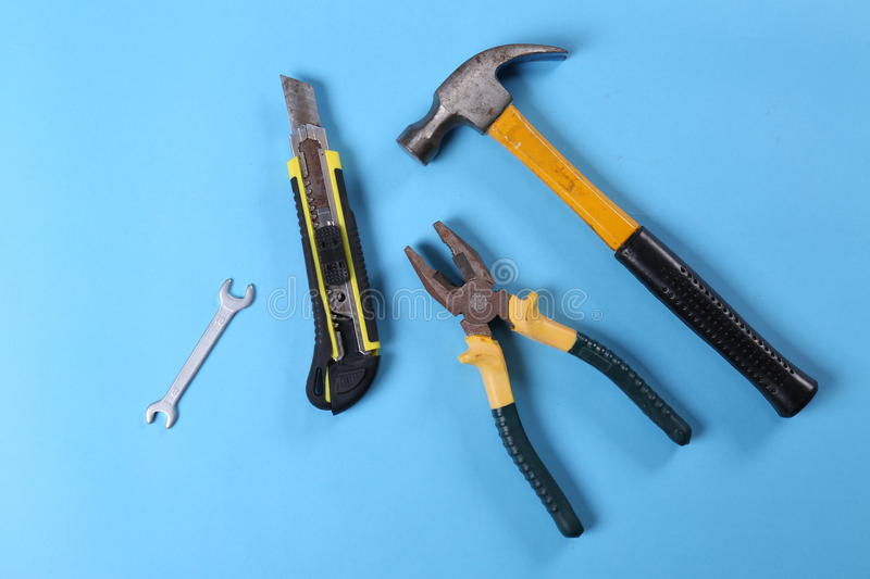 Pliers. Hammer tools hardware decoration decoration industry construction workers photographic material Photography background Photography background paper iron royalty free stock photography