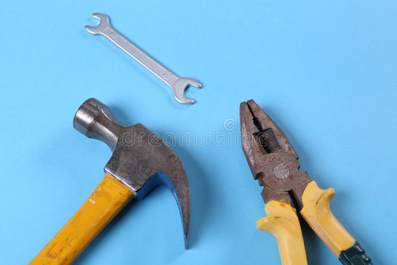 Pliers. Hammer tools hardware decoration decoration industry construction workers photographic material Photography background Photography background paper iron royalty free stock photo