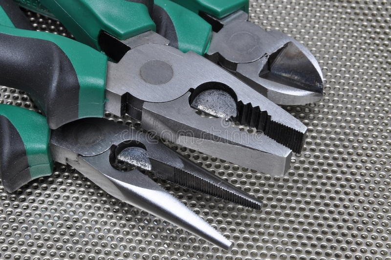 Pliers tools for electrician stock photography