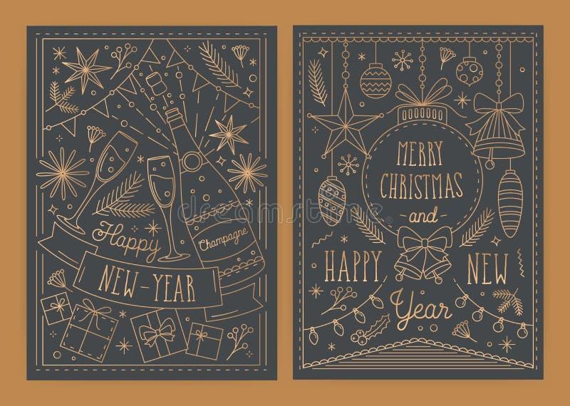 Plik bożych narodzeń i nowego roku kartka z pozdrowieniami szablony z tradycyjnymi wakacyjnymi dekoracjami rysować w kreskowej sz ilustracja wektor