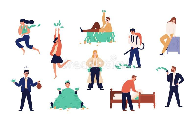 Plik bogaci człowiecy i kobiety odizolowywający na białym tle Set niestaranni zamożni ludzie, moneybags lub nouveau bogactwa, ilustracji