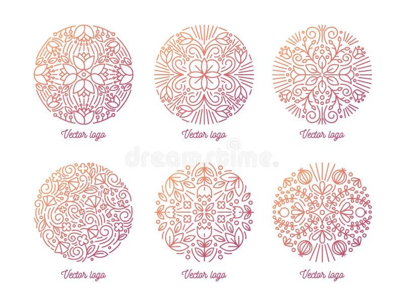 Plik eleganccy round orientalni ornamenty rysujący z konturowymi liniami na białym tle Set kółkowy ozdobny kwiecisty royalty ilustracja