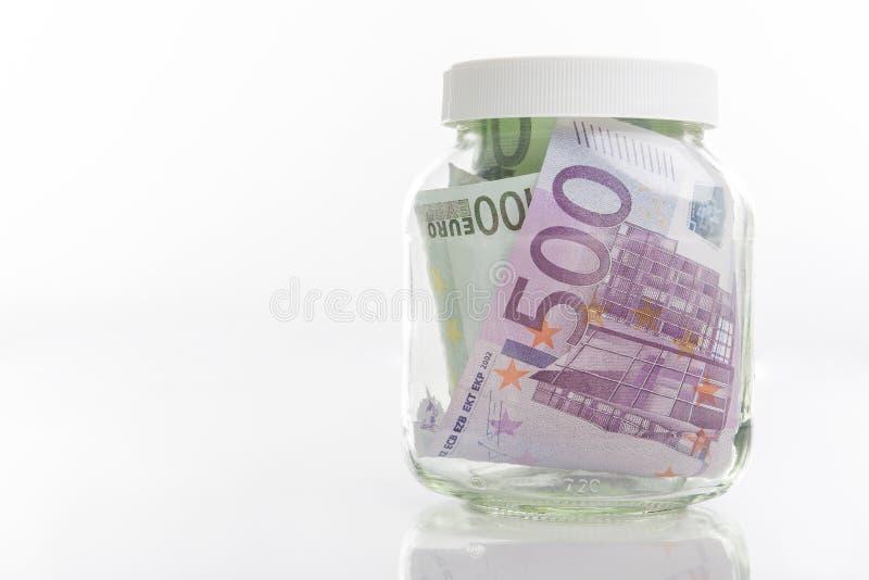 Plik Europejscy waluta banknoty Stawiający w słoju obrazy stock