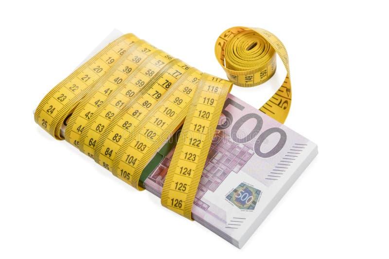 Plik pieniądze rewound pomiarowa taśma obrazy stock