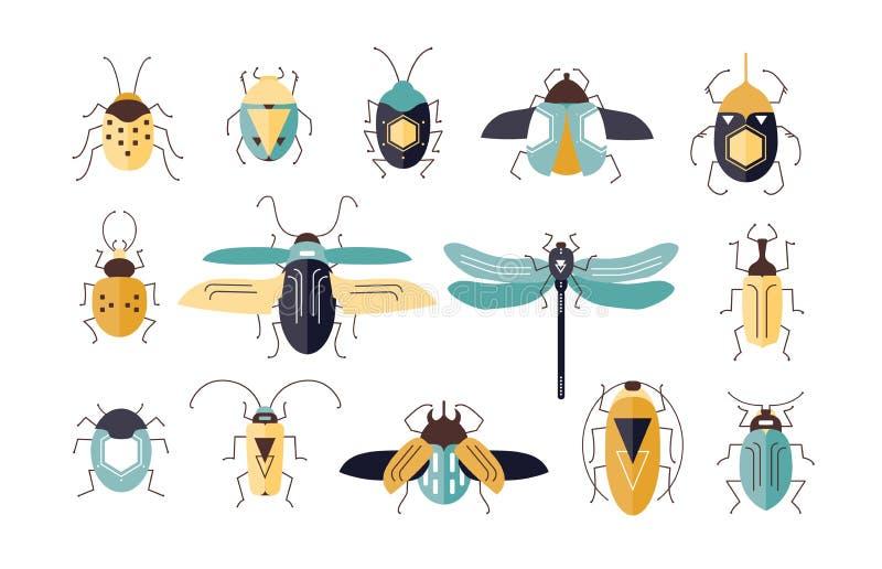 Plik różni kolorowi geometryczni insekty z skrzydłami i antenami odizolowywającymi na białym tle - pluskwy, ścigi royalty ilustracja