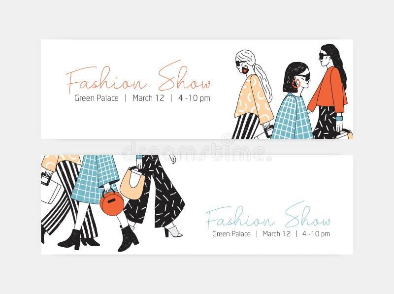 Plik sieć sztandaru szablony dla pokazu modego odziewa je dalej i demonstruje z kobietami jest ubranym modne haute mody ilustracji