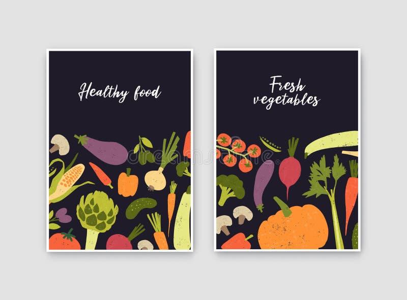 Plik szablony z świeżymi dojrzałymi organicznie warzywami i miejsce dla teksta ulotki lub plakata Zdrowy weganinu jedzenie lub w  ilustracja wektor