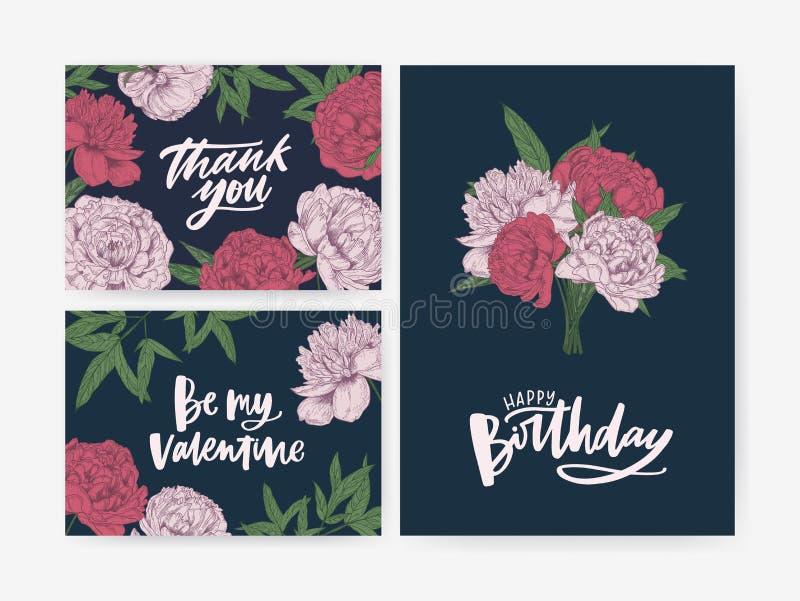 Plik urodziny i St walentynek dnia kartka z pozdrowieniami i Dziękuje Ciebie nutowi szablony dekorujący z wspaniałym kwitnieniem ilustracja wektor