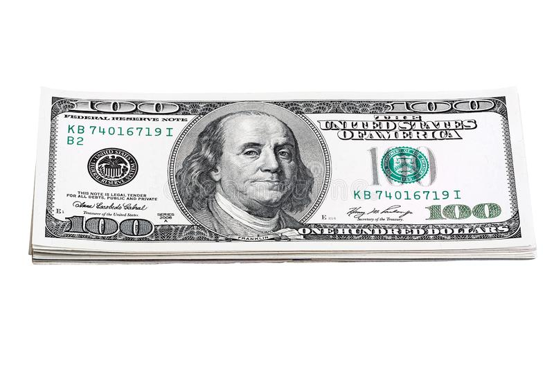 Plik 100 USA dolarów banknotów rachunków odizolowywających na bielu obraz royalty free