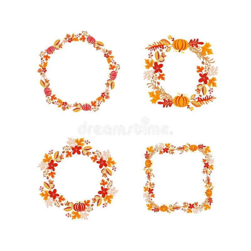 Plik wektor ramy jesieni bukieta wianek z miejscem dla teksta Set liście, jagody i bania pomarańcze odizolowywający, Doskonali? d ilustracji