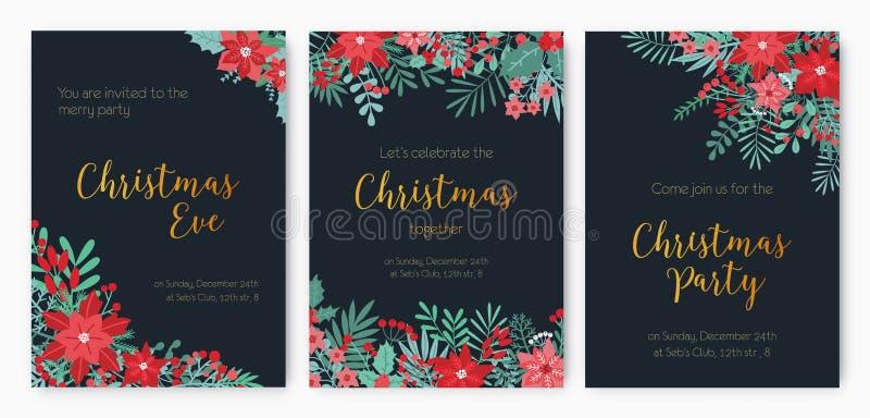 Plik wigilii przyjęcia zaproszenie, świąteczny wydarzenia zawiadomienie lub promocyjni ulotka szablony, dekorował z czerwienią royalty ilustracja