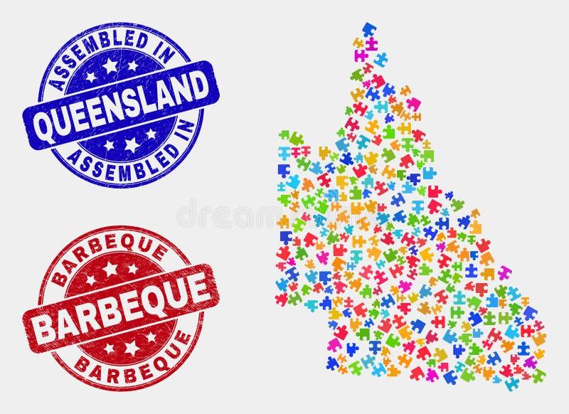 Plika australijczyka Queensland mapa i Drapający Gromadzić i grill Watermarks royalty ilustracja