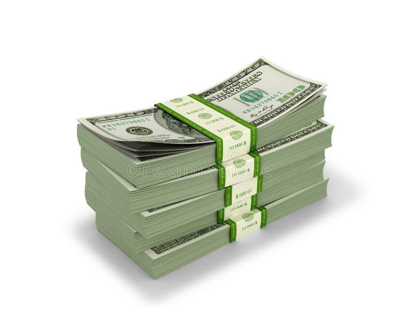 Pliki pieniądze na białym tle, royalty ilustracja