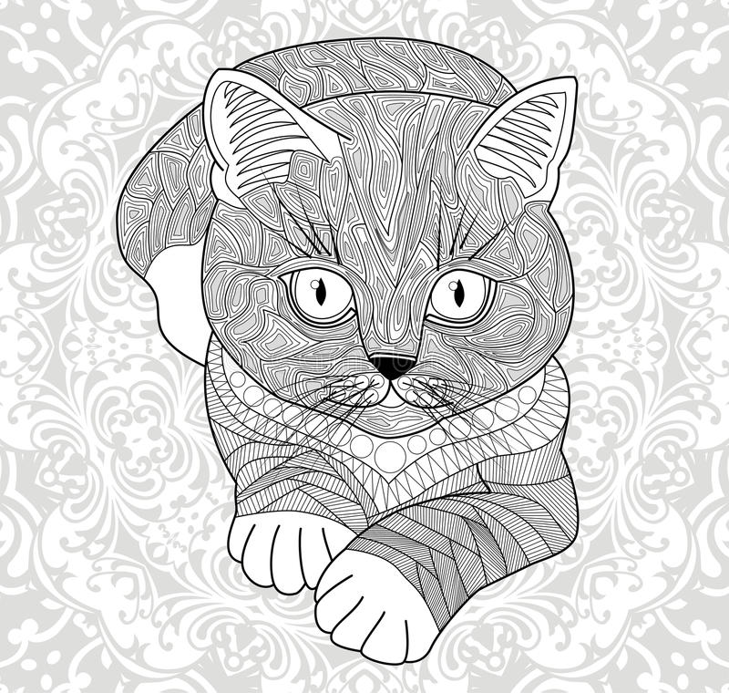 Plinth for t-shirts, . Coloring pages for adults. hand painted cat with an ethnic floral pattern. Abstract flower mandala. royalty free illustration