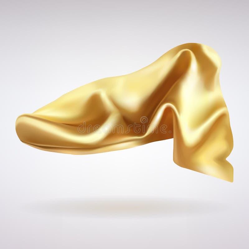 Plis de tissu de satin d'or illustration de vecteur