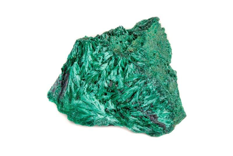plisoviy宏观矿物的石头,长毛绒,在白色的缎绿沸铜 免版税图库摄影