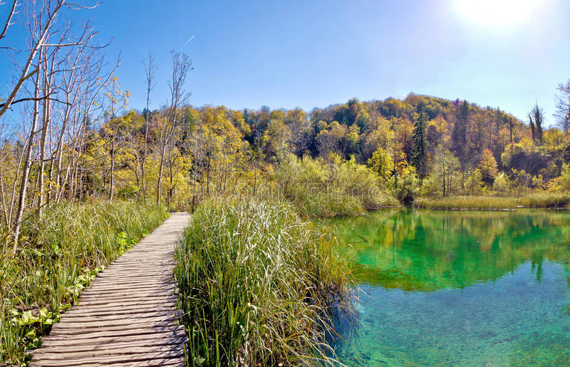 Plitvice湖国家公园木板走道 库存图片
