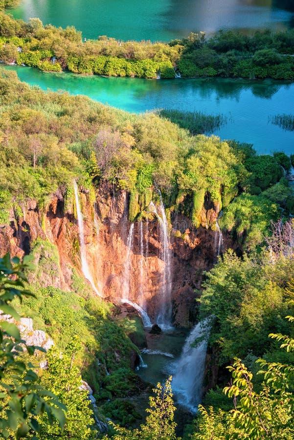 Plitvice湖国立公园、美好的风景与瀑布,湖和森林,克罗地亚 库存照片