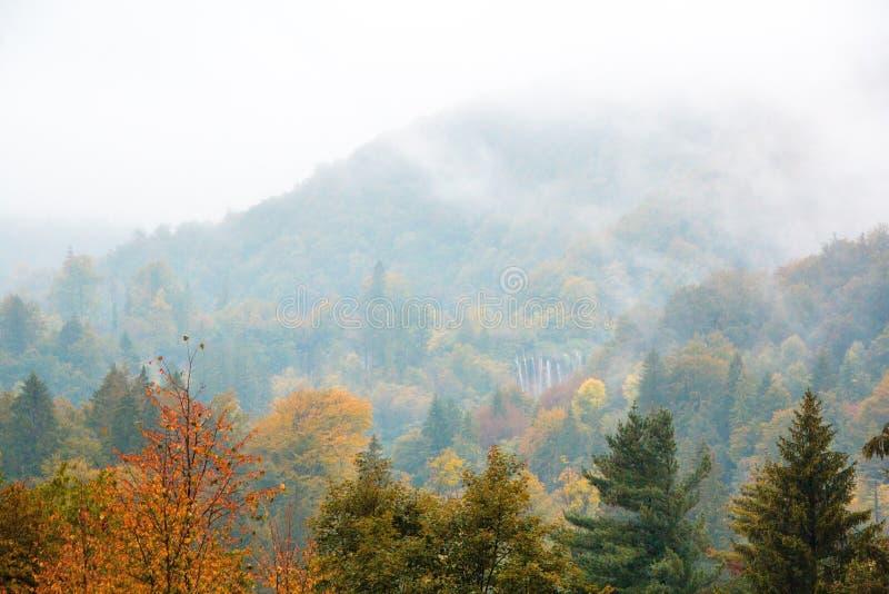 Plitvice湖国立公园,克罗地亚 E 金黄树、雾、山和瀑布 免版税库存照片
