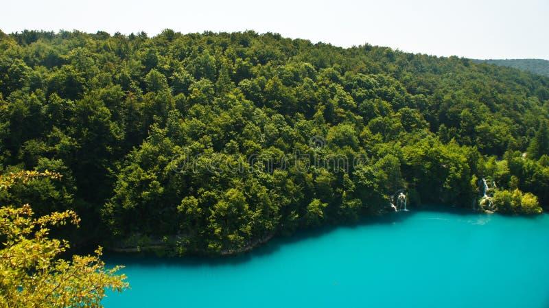 Plitvice湖顶面全景,国立公园的美好的本质在克罗地亚,好日子 免版税库存照片