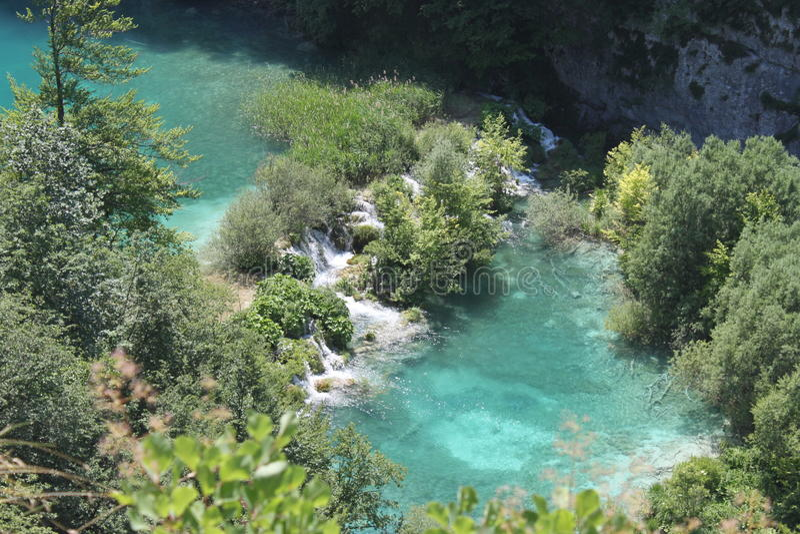 Plitvice湖,克罗地亚(国家公园的惊人的看法) 免版税图库摄影
