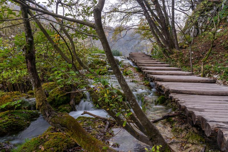 Plitvice lakes board walk on the steps royalty free stock photo