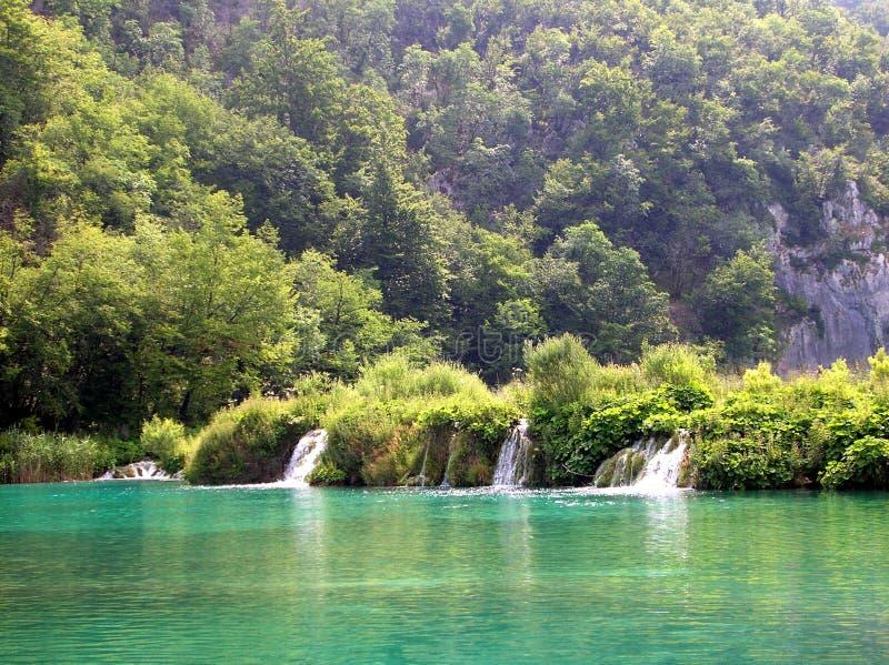 Plitvice. Waterfalls on Plitvice lakes, Croatia royalty free stock photography