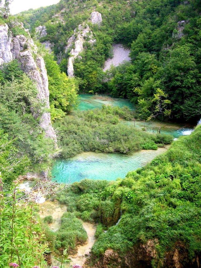 Plitvice. Waterfalls on Plitvice lakes, Croatia royalty free stock photos
