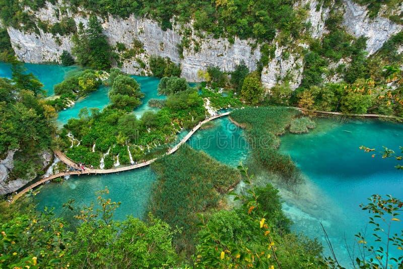 PLITVICE, CROATIE - 29 JUILLET : Le touriste ont plaisir à visiter le pays les lacs et les paysages merveilleux au parc naturel d photos libres de droits