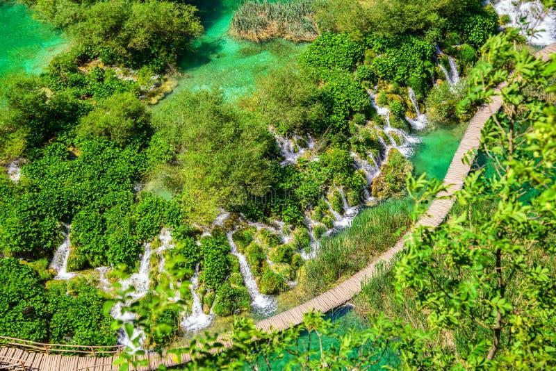 Plitvice jezior parka narodowego airview siklawy i sposoby, Croati fotografia stock