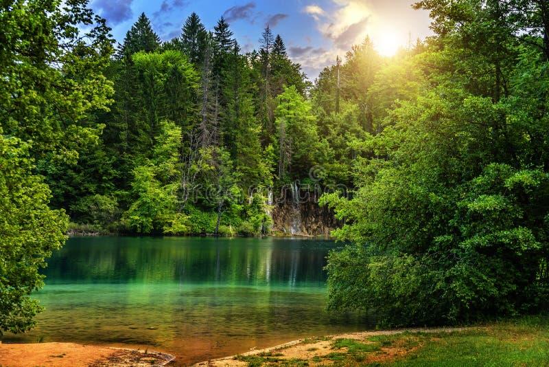 Plitvice jeziora w wieczór obrazy royalty free