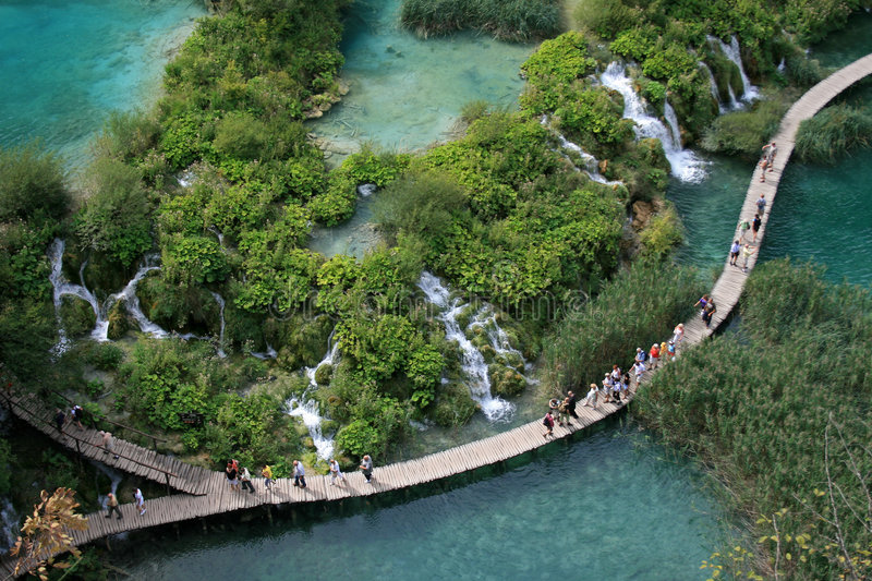 Plitvice lakes. Croatia´s national park also listed in UNESCO´s World natural heritage. Sixteen lakes are connected by 92 watterfalls in picturesque stock photo