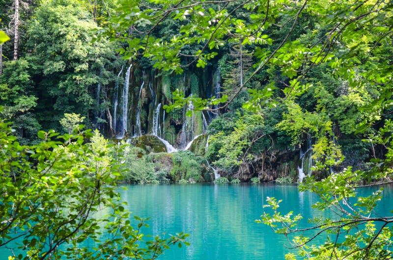 Plitvice lakes in Croatia. Waterfalls a in Plitvice lakes in Croatia - nature travel background royalty free stock photos