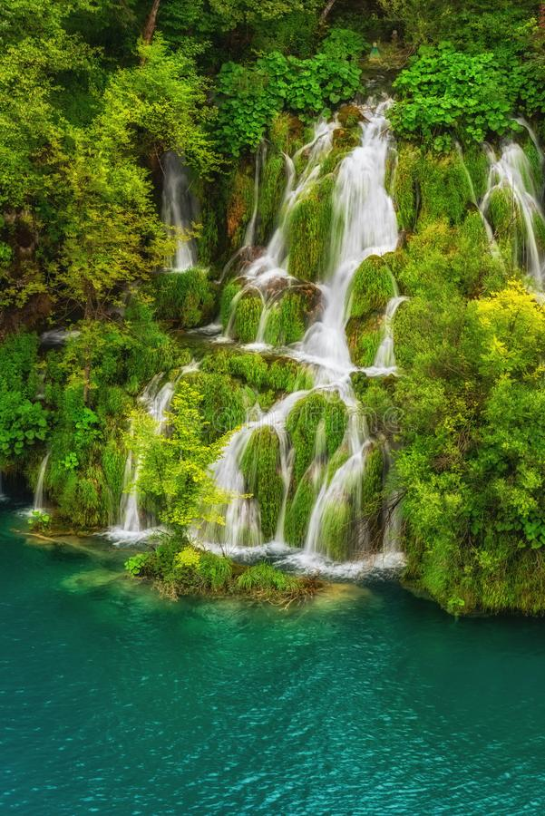 Amazing emerald lakes and waterfalls, surrounded by forests at Plitvice Lakes National Park, Croatia royalty free stock photos