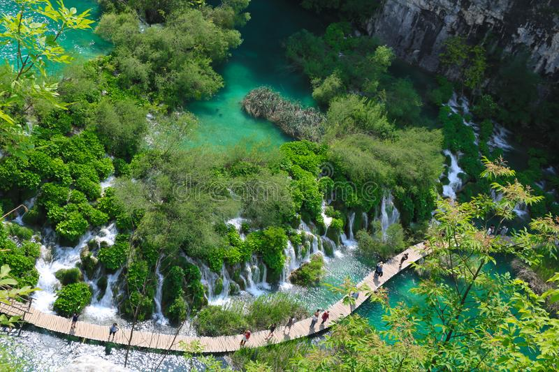 Amazing Plitvice Lakes National Park, Croatia. The Plitvice Lakes National Park, Croatia's most popular tourist attraction, was granted UNESCO World stock photo