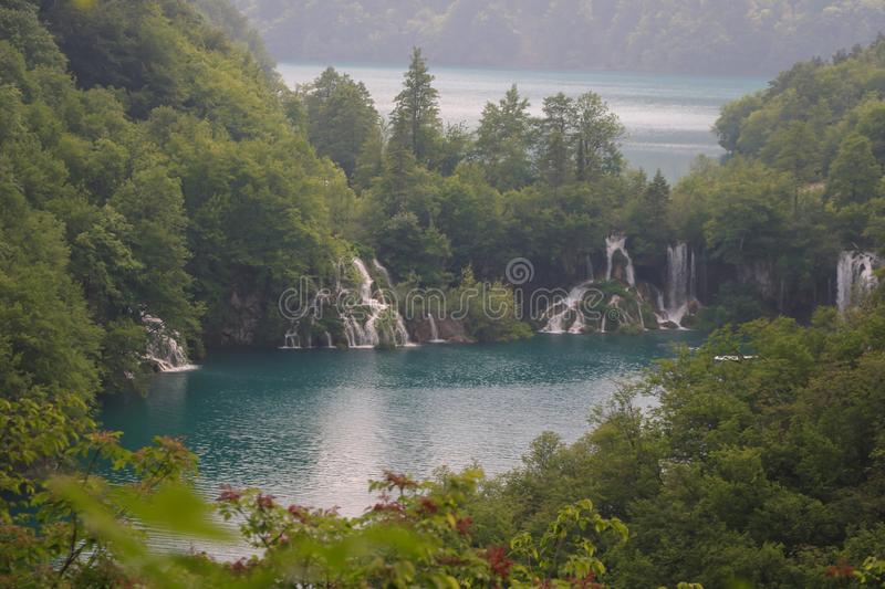 Amazing Plitvice Lakes National Park, Croatia. The Plitvice Lakes National Park, Croatia's most popular tourist attraction, was granted UNESCO World stock images