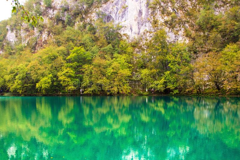 Plitvice lakes national Park, Croatia. Amazing green color of water. Beautiful landscape lake and mountains royalty free stock photos
