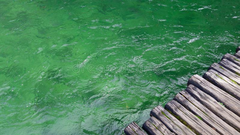 Green water with ripples in Plitvice, Croatia royalty free stock images