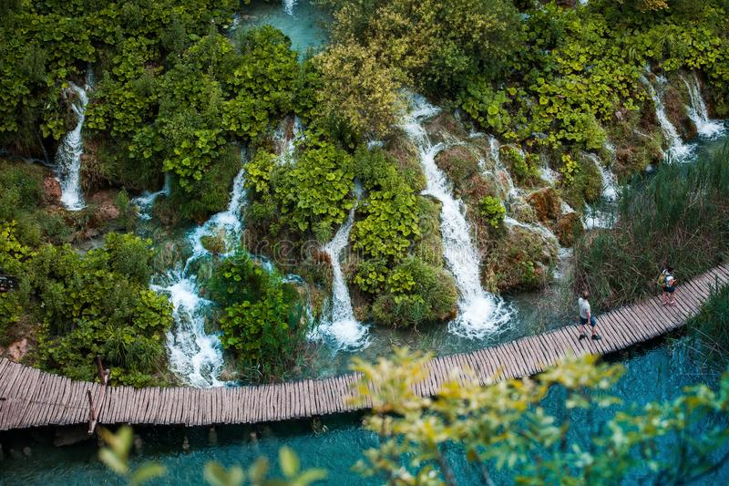 Plitvice Lakes National Park in Croatia. View of waterfalls in Plitvice Lakes National Park in Croatia stock image
