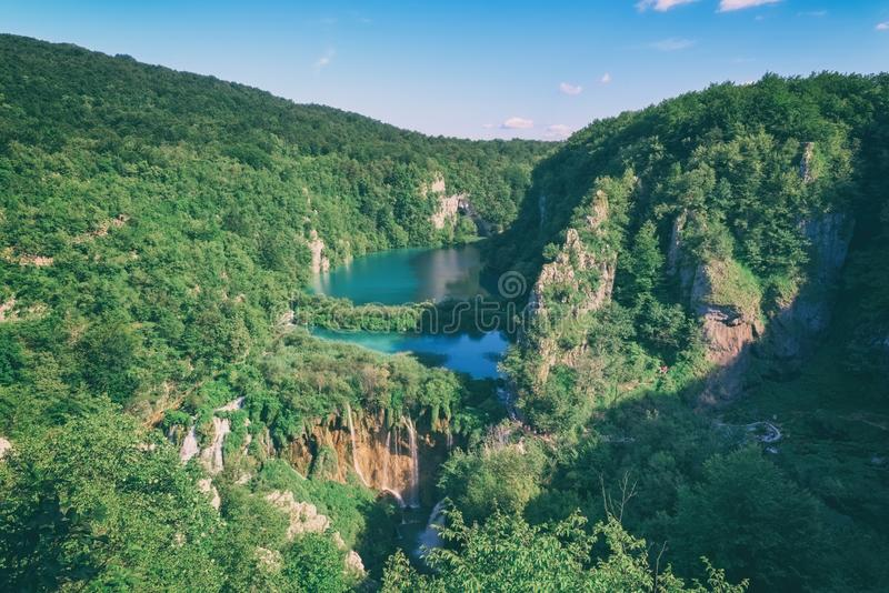 Plitvice Lakes National park, beautiful landscape with waterfalls, lakes and forest, Croatia stock photos