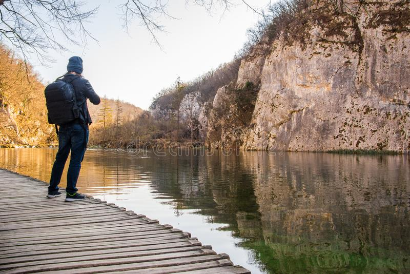 Plitvice Lakes National Park view with a visitor, photographer stock images