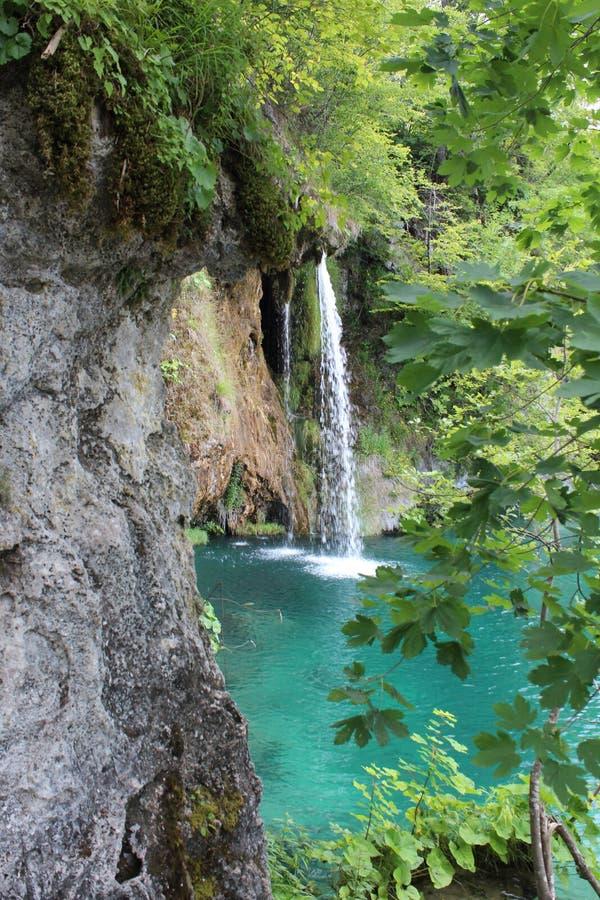 Plitvice lakes Park, Croatia, natural waterfalls and streams of water stock photo
