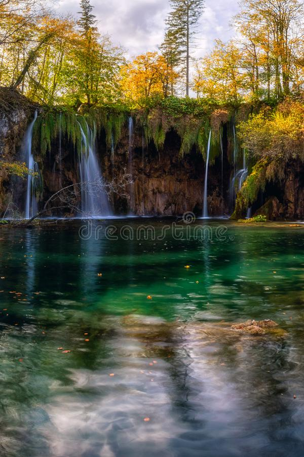 Plitvice lakes Plitvicka jezera national park, Croatia. Amazing autumn sunny landscape. With waterfall Mali Buk, Gradinsko lake, colored trees and sky. Outdoor royalty free stock photos