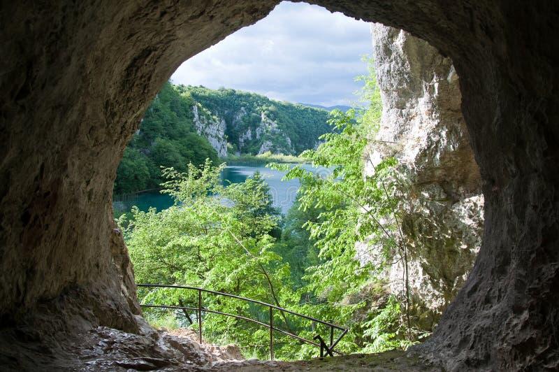 Plitvice nature reserved lakes. Croatia nature reserved lakes - Plitvice, view from the cave royalty free stock photo