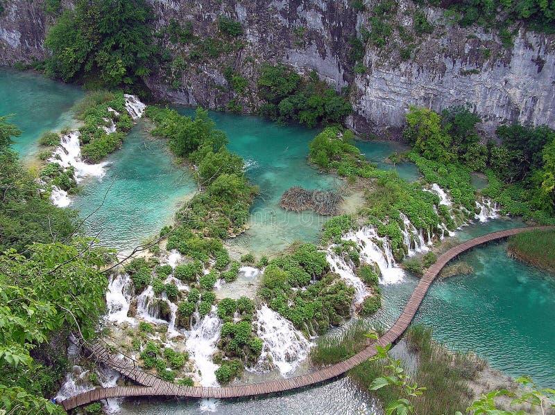 Plitvice sjöar i regnigt väder royaltyfria foton