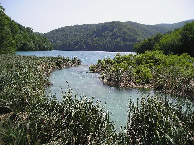 Plitvice sjönationalpark - flod och kullar royaltyfria foton