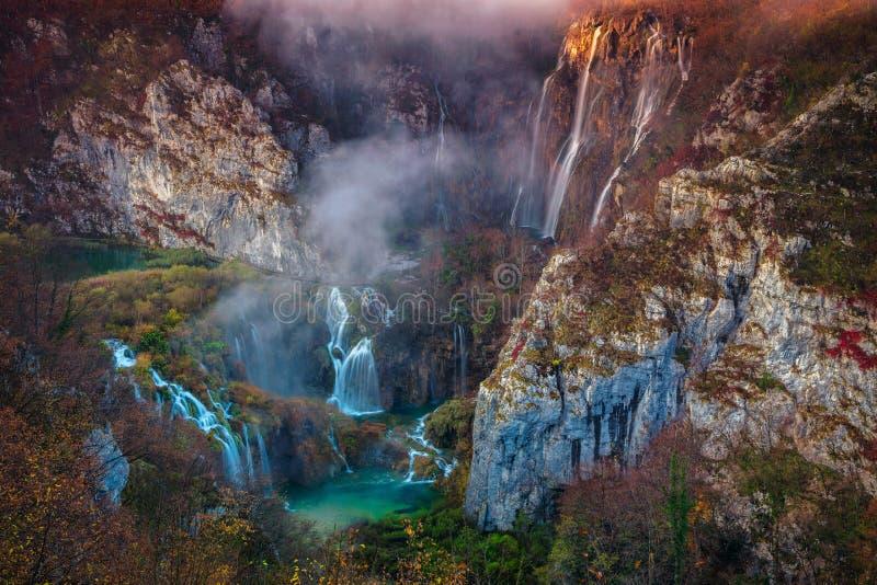 Plitvice Waterfall in autumn. stock photography