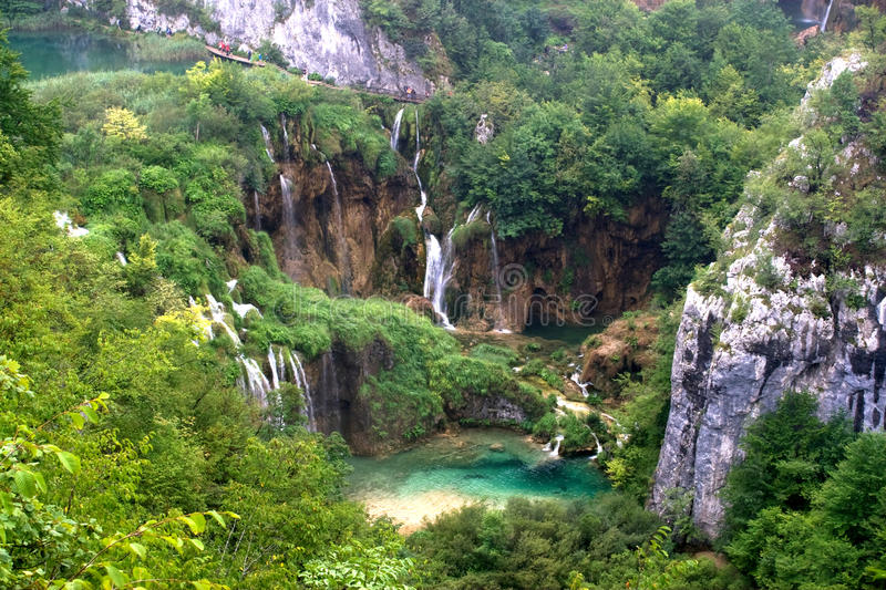 Plitvice waterfall landscape with lake royalty free stock images