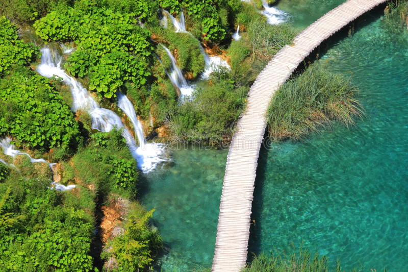Plitvicka Jezera, Croatia. Wood walkway and small waterfalls in Plitvicka Jezera National Park, Croatia stock images